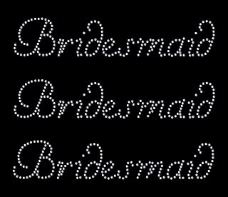 *CrystalsRus* 3 x Bridesmaid Iron on Rhinestone Transfer for Hen Party Diamante Bridal Transfer