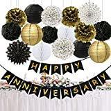 Happy Anniversary Party Decorations Happy Anniversary Banner Tissue Paper Pom Poms Flowers Paper Lanterns Hanging Paper Fans for Black Gold Wedding Anniversary Party Birthday Anniversary Party