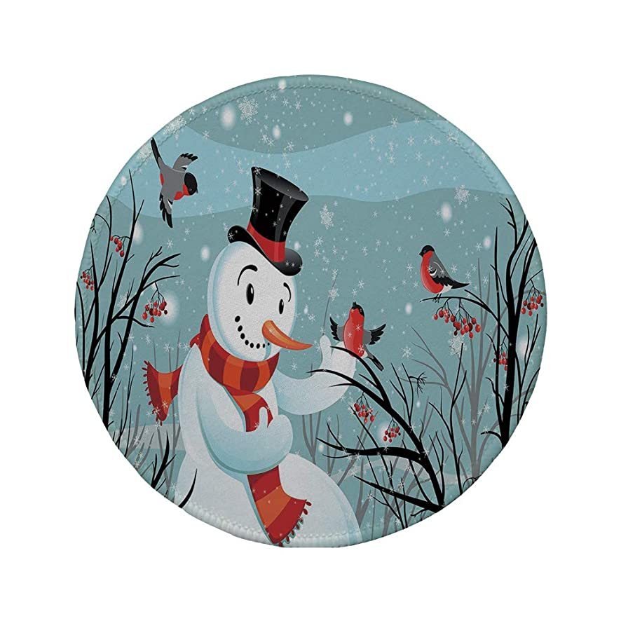 Non-Slip Rubber Round Mouse Pad,Christmas,Snowy Winter Tree Branches Berries Bullfinch Birds Snowman Hat Decorative,Almond Green Black Orange,11.8