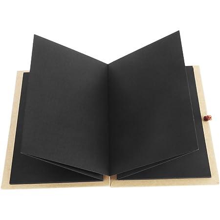 LUOEM Kraft Papier relié Accordéon Style Bricolage Photo Ablum Livre 36 Page Blanc Scrapbook pour l'obtention du diplôme Anniversaire Anniversaire Cadeaux de Saint Valentin (Pages Noires)