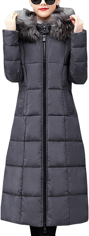 chouyatou Women's Winter Thick Fur Hooded Maxi Long Alternative Parka Down Coat