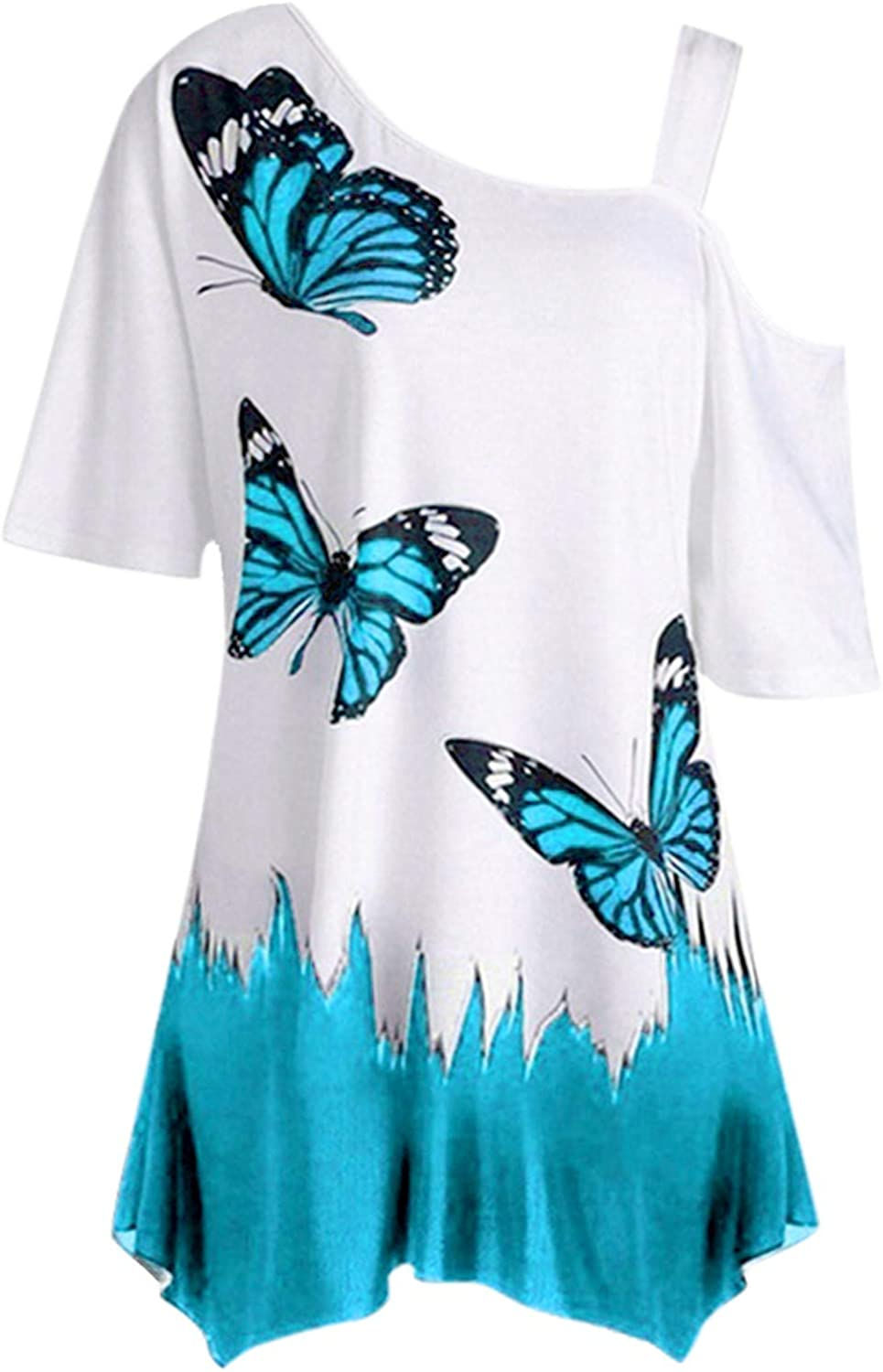 Casual Blouse for Women One Shoulder Striped Butterfly Print Loose Short Sleeve Elegant T-Shirt Tops for Ladies