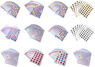Healifty 12Pcs Foil Star Sticker Label For Diy Arts Crafts Scrapbooks