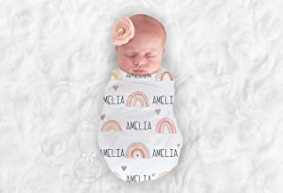 Baby Girl Personalized Neutral Rainbow Swaddle Blanket