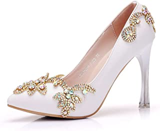 MIKA HOM Bridal Shoes Thin Heels Sandals Pointed Toe High Heels Women Pumps White Lace Wedding Shoes