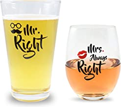 Mr Right and Mrs Always Right Novelty Beer and Wine Glasses Basket For Newly Weds Gift, Bridal Shower, Married Couples, Weddings, Engagements, Newlyweds, Anniversary / 16oz