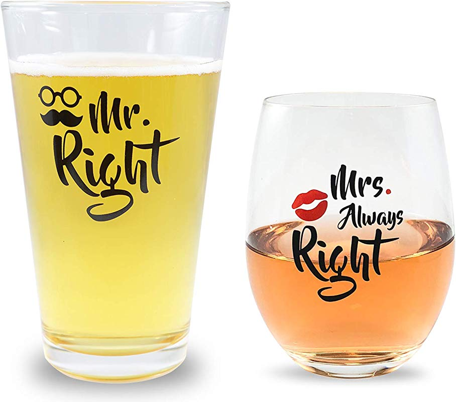 Mr Right And Mrs Always Right Novelty Beer And Wine Glasses Basket For Newly Weds Gift Bridal Shower Married Couples Weddings Engagements Newlyweds Anniversary 16oz