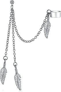 Multi Feather Leaf Dangling Cartilage Ear Lobe Helix Earring Warp Chain Ear Cuff Stud Earring Unisex Stainless Steel