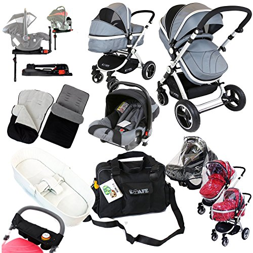 i-Safe Complete Trio Travel System Pram & Luxury Stroller - Grey Complete With Carseat + iSOFIX Base + iSafe Luxury Bedding Complete With Mattress + iSafe Luxury Changing Bag (Black) + iSafe Parent Organizer + Footmuff + Carseat Footmuff + RainCovers