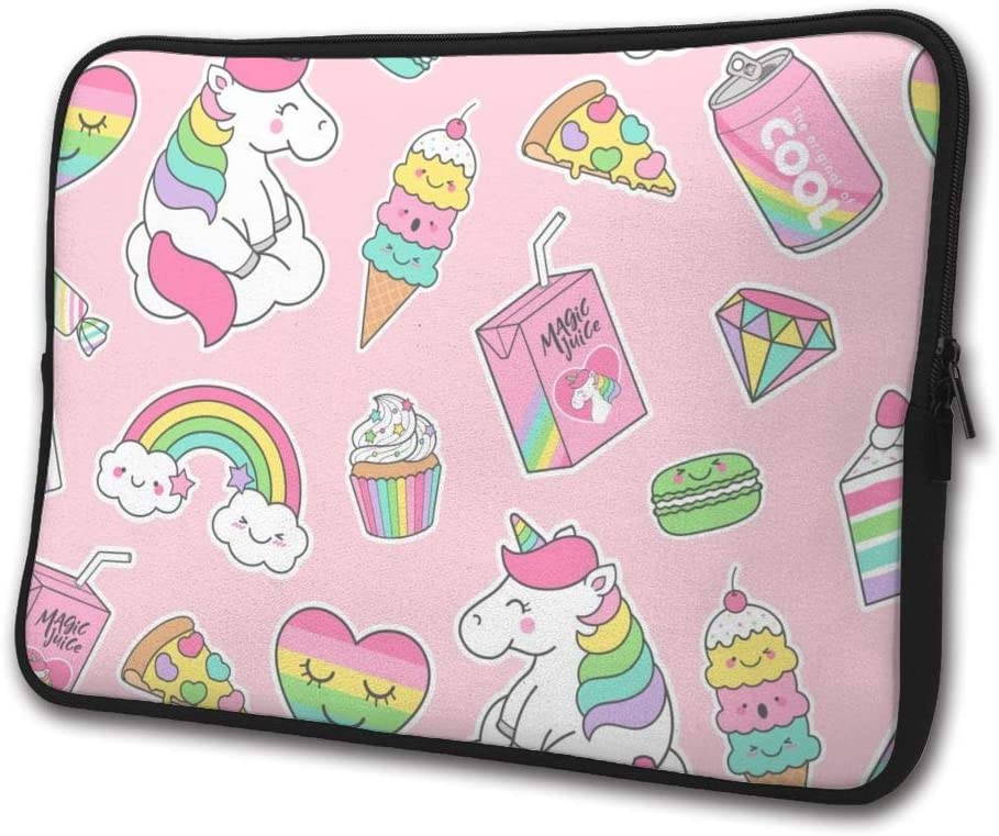 SWEET-YZ Laptop Sleeve Case Cute Pastel Unicorn and Dessert Notebook Computer Cover Bag Compatible 13-15 Inch Laptop