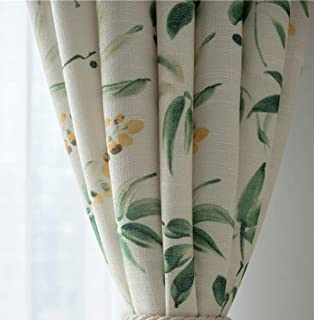 pureaqu Grommet Patio Sliding Door Curtain Extra Wide Flower Green Leaves Thermal Curtains Linen Semi Blackout Curtain Panels Vintage Style Window Draperies for Bedroom 1 Panel W114 x L84 Inch