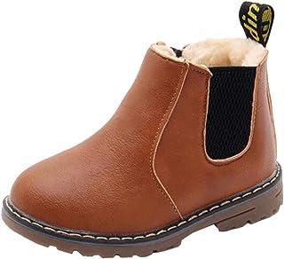 DADAWEN Boy's Girl's Waterproof Side Zipper Short Ankle Winter Snow Boots