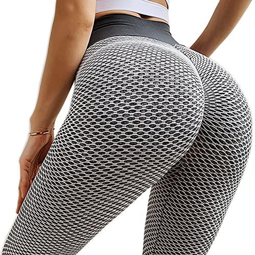 BOTRE Leggins Sportivi Donna Fitness Pantaloni Palestra Corsa Leggings Running Yoga Vita Alta Push Up Jogging Pants (Grigio-A, S, s)