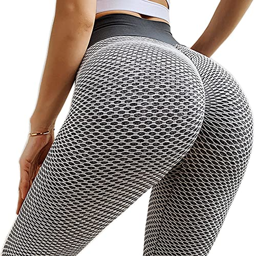 BOTRE Leggins Mujer Push Up Mallas Deporte Leggings Deportivas Yoga Gym Fitness Running Exercise Training Pilates Pantalones Cintura Alta Pants (Gris A, S)