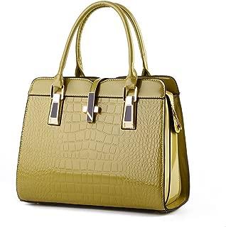Desklets Womens Modern PU Leather Tote Luxury Bags Top Handle Handbag Stachel(Khaki)