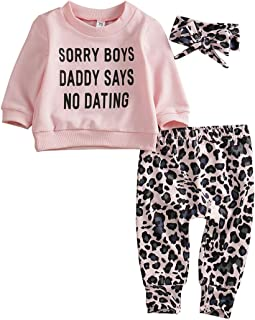 Newborn Baby Clothes Set Sorry Boys Daddy SAYS NO Dating Sweatshirt Leopard Legging Pant Outfit Headband