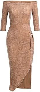 Women Wrap Dresses Off Shoulder High Slit Bodycon Dress Half Sleeve Slash Neck Dresses