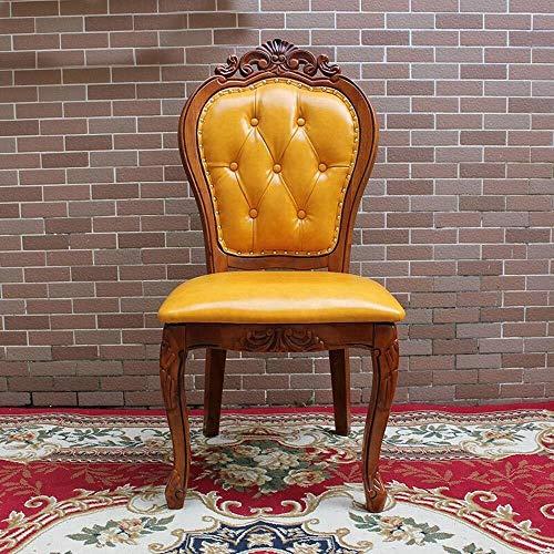 CKQ-KQ Silla de comedor americana silla de cuero de madera maciza labrada silla de comedor europea simple montaje de sillas de Inicio 2 Paquete de cocina (color: amarillo, tamaño: 58x50x106cm) Para la