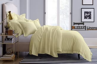 eBeddy Linens 800 Thread Count Ultra Silky Soft Egyptian Cotton Super King 98x108 Size 3-Pieces Duvet Cover Hidden Zipper Closer & Corner Ties Durable and Fade Resistant Ivory Solid
