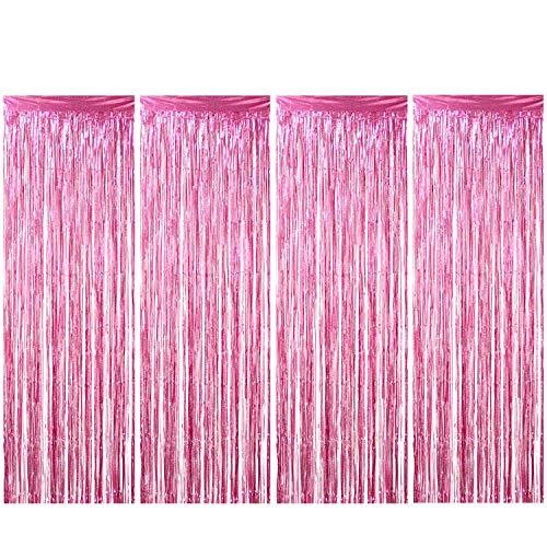 ENTHUR Folienvorhänge 1 x 2,5m metallische Fransen, schimmernder Vorhang für Geburtstag, Hochzeit, Party, Halloween, Weihnachten, Dekoration, 4 Stück (Rosa)