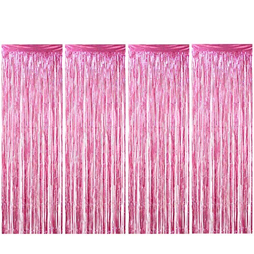 Enthur Foil Curtains 1 x 2.5m × 4 Pack Metallic Fringe Curtains Shimmer Curtain for Birthday Wedding Party Halloween Christmas Decorations (Pink)
