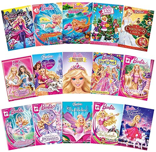 Barbie 15-Movie DVD Collection: Spy Squad/Mermaid Tale 1+2/Perfect Christmas/Christmas Carol/Princess Pauper/Diamond Castle/Charm School/Secret Door/Rapunzel/ Pegasus/Thumbelina/3 Musketeers/Fashion