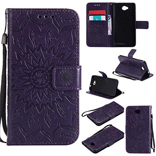 kelman Handyhülle für Nokia Lumia 650 (5.0') Hülle Schutzhülle 3D Sonnenblume PU Leder + Soft Silikon TPU Innere Schale Mode Prägung Brieftasche Flip - [Lila]