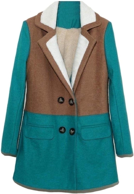 TaoNice Womens Outerwear DoubleBreasted Fleece Warm Windproof Pea Coat