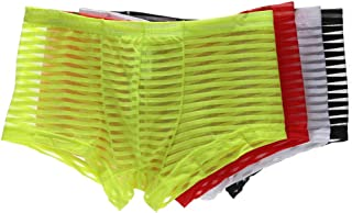 KAMUON Men's 4-Pack Sexy Low Rise See Through Mesh Boxer Brief Underwear Panties