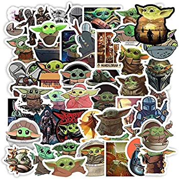50Pcs Baby Yoda Merchandise Stickers The Mandalorian Star Wars Decal Stickers for Hydro Flask Kid Gift Baby Yoda Stickers for Laptop Skateboard Water Bottle Car Bicycle Luggage Guitar Computer