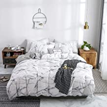 Bedroom Bedding Simple Active Print Suite Three-piece Pillowcase * 2 / Quilt Cover White Stone Cotton Comfortable (Size : Queen)
