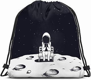 宇宙飛行士はベンチに座っていますモバイルサイエンステクノロジー巾着バックパックジムサック軽量バッグスポーツ用女性および男性用防水ジムバックパック旅行ハイキングキャンプショッピングヨガ14x17インチ