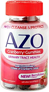 AZO Cranberry Urinary Tract Health Gummies Dietary Supplement | 2 Gummies = 1 Glass of Cranberry Juice | Helps Cleanse & Protect* | Natural Mixed Berry Flavor | 72 Gummies