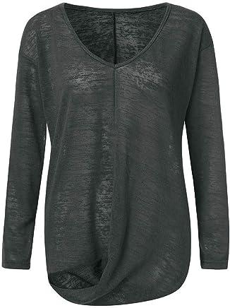 AMhomely Maglietta da Donna Estiva Autunno T-Shirt da Donna Scollo A V Tinta Unita con Maniche Lunghe Irregolari Taglie Forti Maternity Wear - Confronta prezzi