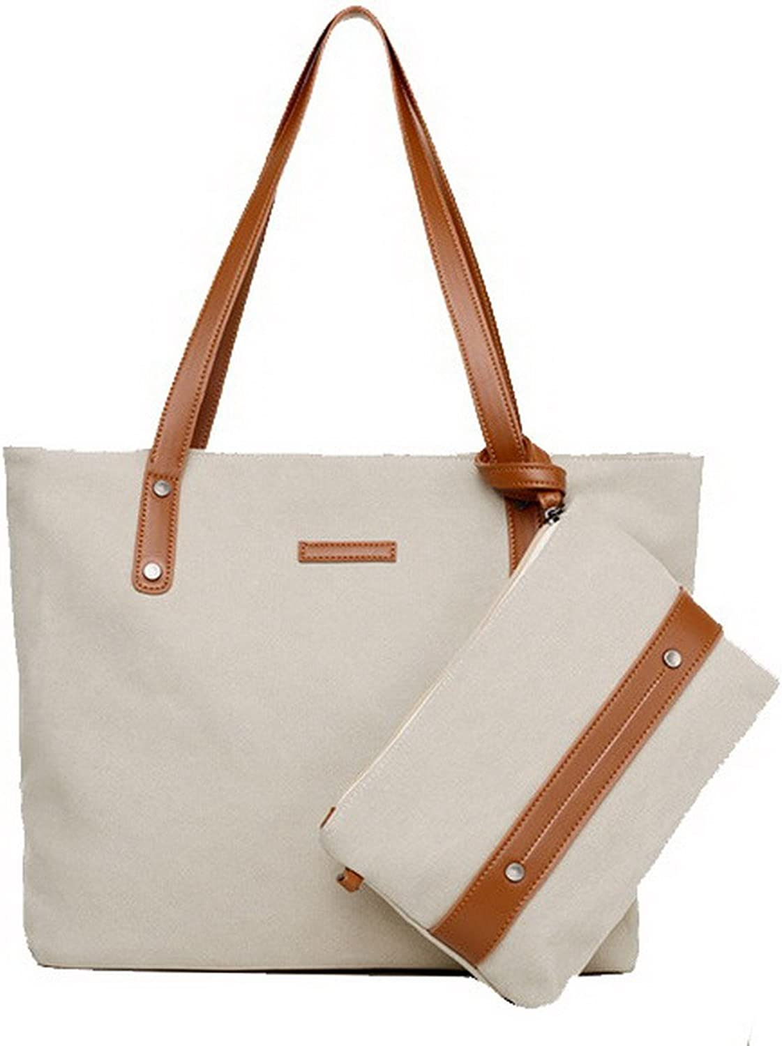 AmoonyFashion Women's Canvas Tote-Style Short Shoulder Bags Tote Bags, BUTBS181374