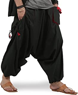 Mens Boys Boho Hippie Baggy Cotton Wide Leg Harem Pants - Drop Pockets Style