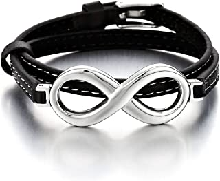 Infinity Love Genuine Leather Bracelet for Men and Women Stainless Steel