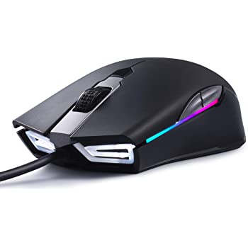 ABKONCORE Gaming Mouse A900 [16,000 DPI], Wired, USB Computer Mice with 8 Programmable Buttons, PWM 3389 Sensor, RGB Backlit, Comfortable Grip Both Handed Mice for Laptop, PC, Mac, Windows
