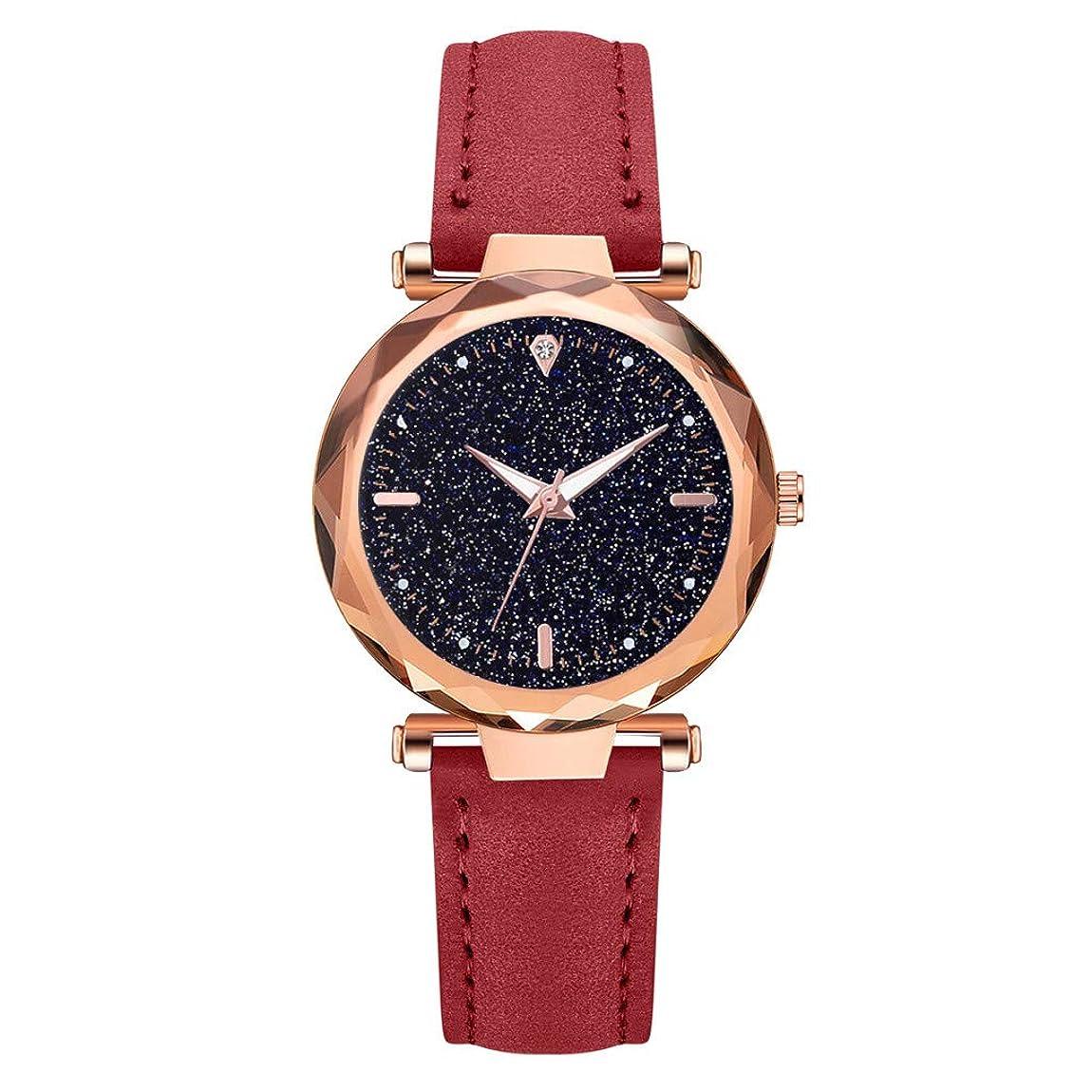 多数のメイエラ半球Waminger[ワミナー] 腕時計 人気 ガールズ レディース 軽量 おしゃれ 魅力的 キラキラ 誕生日豪華 菱形ガラス ダイヤモンド 星空 スカイ ベルト安い 快適性 上品さ 耐衝撃 かわいい ウオッチ(レッド)