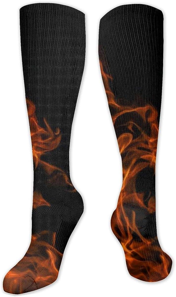 Flame Digital Fire Dark Knee High Socks Leg Warmer Dresses Long Boot Stockings For Womens Cosplay Daily Wear