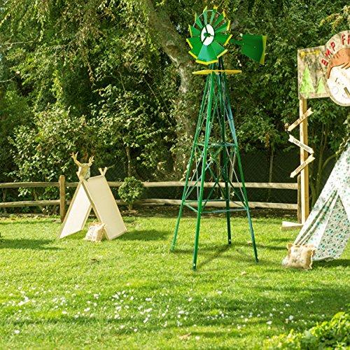XtremepowerUS 8FT Green Metal Windmill Yard Garden Wind Mill