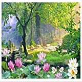 Papel tapiz fotográfico Loto de jardín 3D Lana Fondo De Pantalla XXL Papel pintado tejido no tejido Moderna Decoración De Pared Sala Cuarto 350 X 256 cm