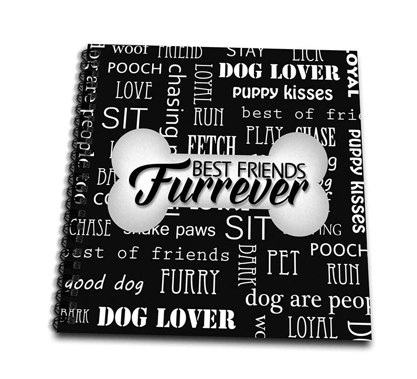 3dRose Best Friends Furrever Dog Bone on Black with White Word Art-Mini Notepad, 4 by 4