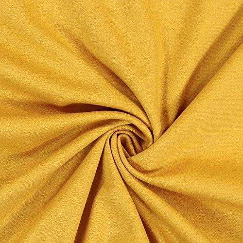 Fabulous Fabrics Romanit Jersey senf – Weicher Jersey Stoff zum Nähen von Kleider, Leggings, Shirts & Tuniken - Meterware ab 0,5m