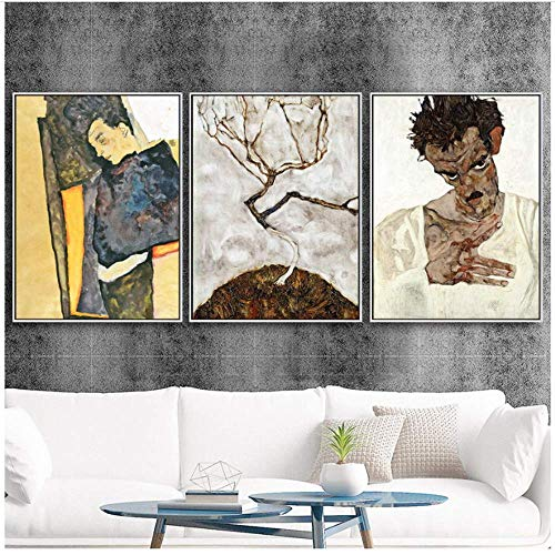 YaShengZhuangShi Leinwand Bedrucken Home Decoration Print Leinwand Wandkunst Bild Poster Gemälde Öl Österreicher Egon Schiele Selbstporträt 3x50x70cm ohne Rahmen