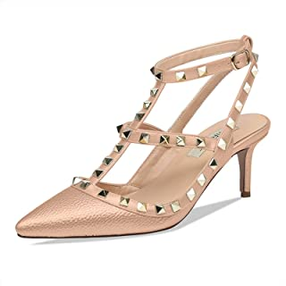 Women's Studded High Heels with T-Strap Gold Stud Heeled Sandals Pointed Toe Strappy Buckle Studs Leather Dress Pumps 5-14 US