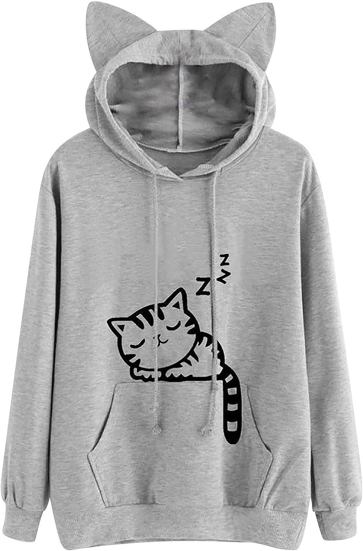 Kanzd Cute Cat Ear Hoodies for Women Girls Fashion Long Sleeve Loose Fleece Cat Print Pocket Soft Warm Hooded Sweater Top
