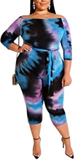 IyMoo Sexy Plus Size Jumpsuits for Women - 3/4 Sleeve Tie Dye Print Off Shoulder Bodycon Long Romper Playsuits