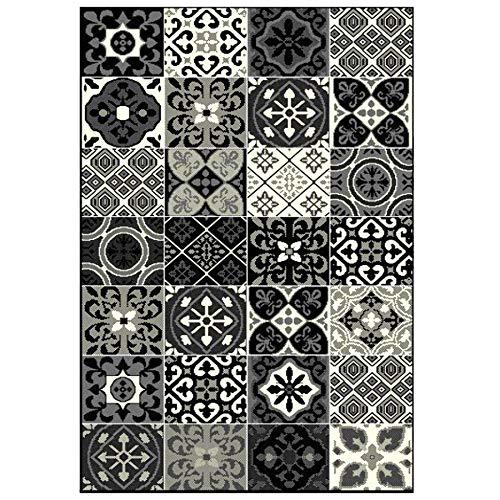 Debonsol Teppich für Wohnzimmer, Patchwork, Fliesen, Zement, Schwarz, 140 x 200 cm