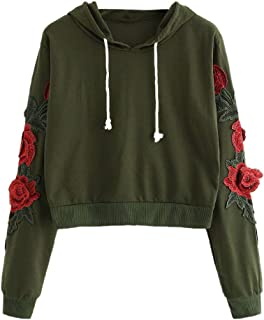 HIRIRI Women's Drawstring Flower Embroidered Blouse Hoodies Long Sleeve Nice Pattern Casual Hooded Sweatshirt